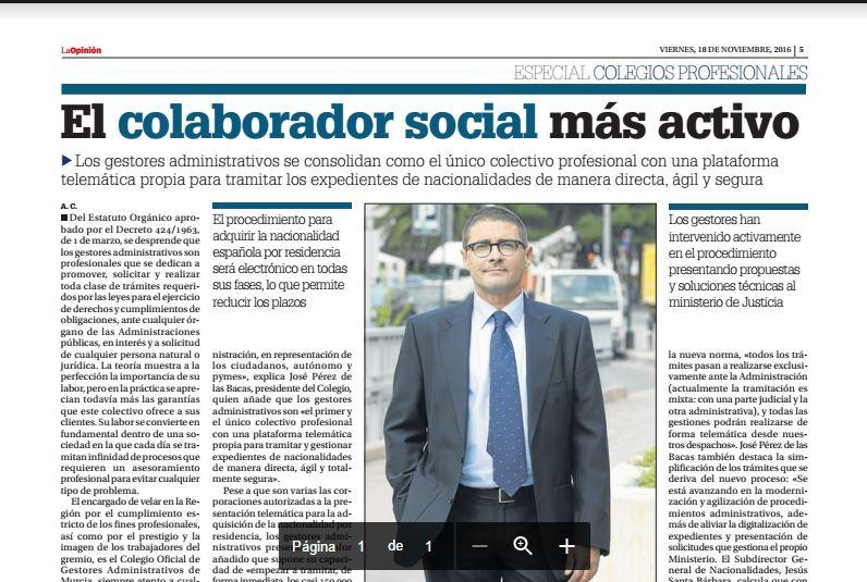 Especial Colegios Profesionales. La Opinión de Murcia. Noviembre 2016